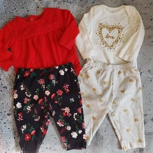 Carter's. Girls 4pc Longsleeve Outfit Bundle